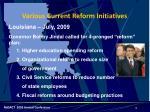 various current reform initiatives