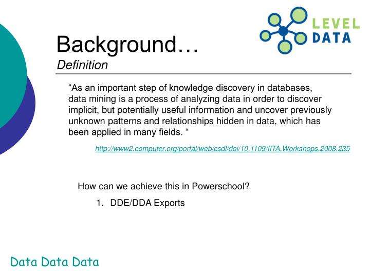 """""""As an important step of knowledge discovery in databases, data mining is a process of analyzing data in order to discover implicit, but potentially useful information and uncover previously unknown patterns and relationships hidden in data, which has been applied in many fields. """""""