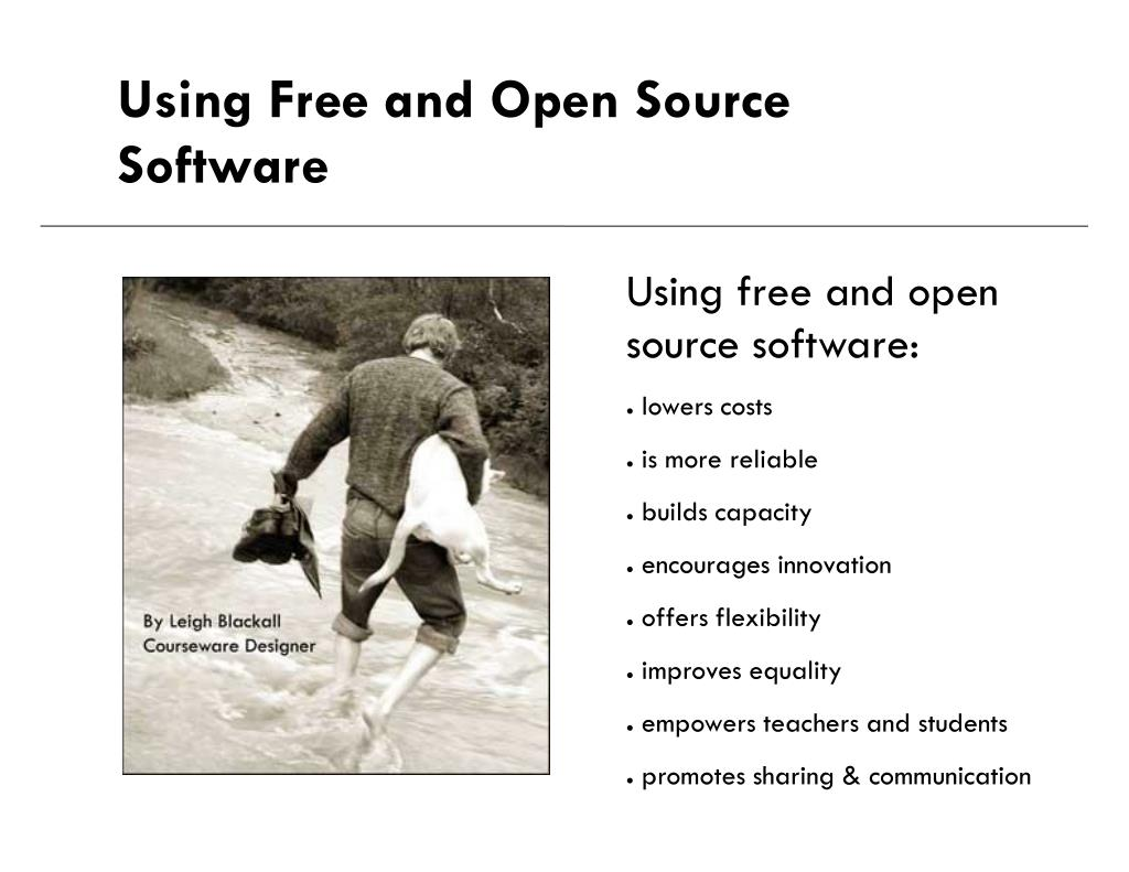 using free and open source software l.