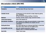 site exclusion criteria epa 1997