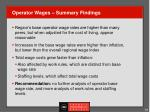 operator wages summary findings