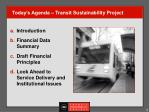 today s agenda transit sustainability project