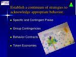 establish a continuum of strategies to acknowledge appropriate behavior