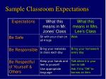 sample classroom expectations