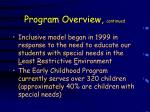 program overview continued