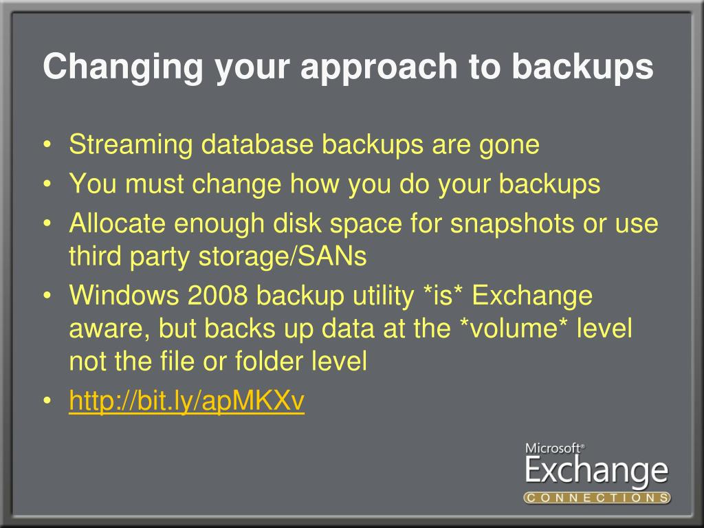 Changing your approach to backups