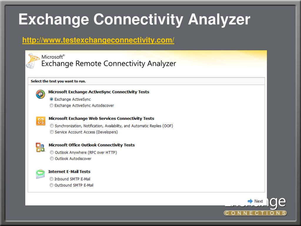 Exchange Connectivity Analyzer