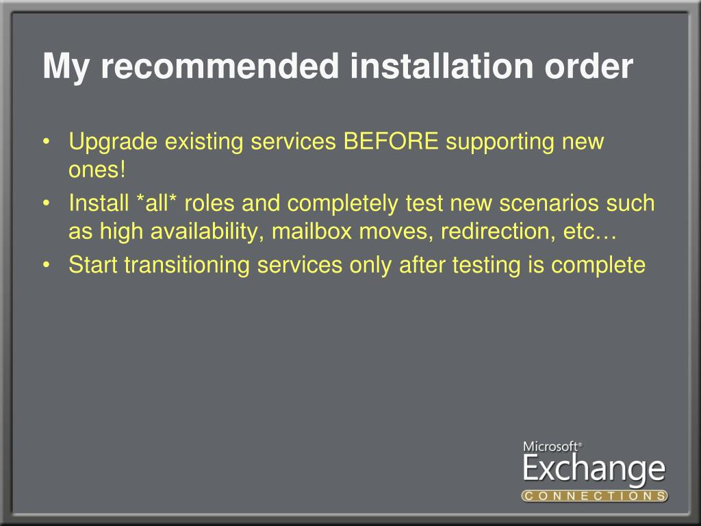 My recommended installation order