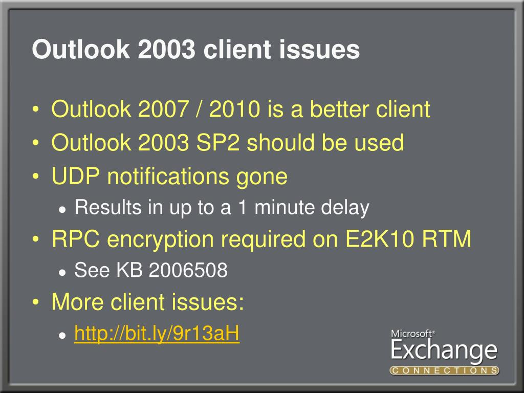 Outlook 2003 client issues