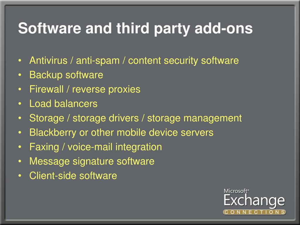 Software and third party add-ons
