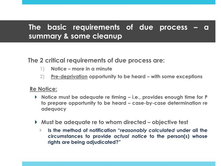 the basic requirements of due process a summary some cleanup n.