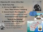 objective 5 union wins war