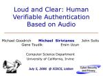 loud and clear human verifiable authentication based on audio