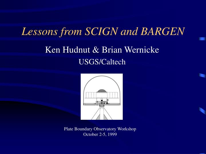 lessons from scign and bargen n.