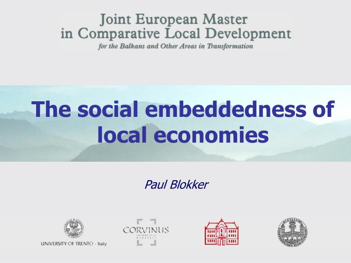 the social embeddedness of local economies n.