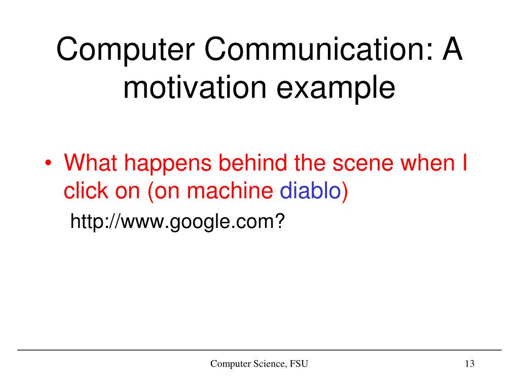 Computer Communication: A motivation example