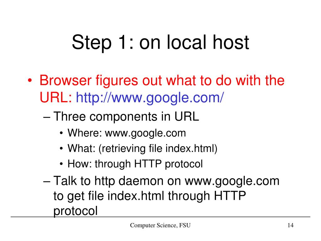 Step 1: on local host