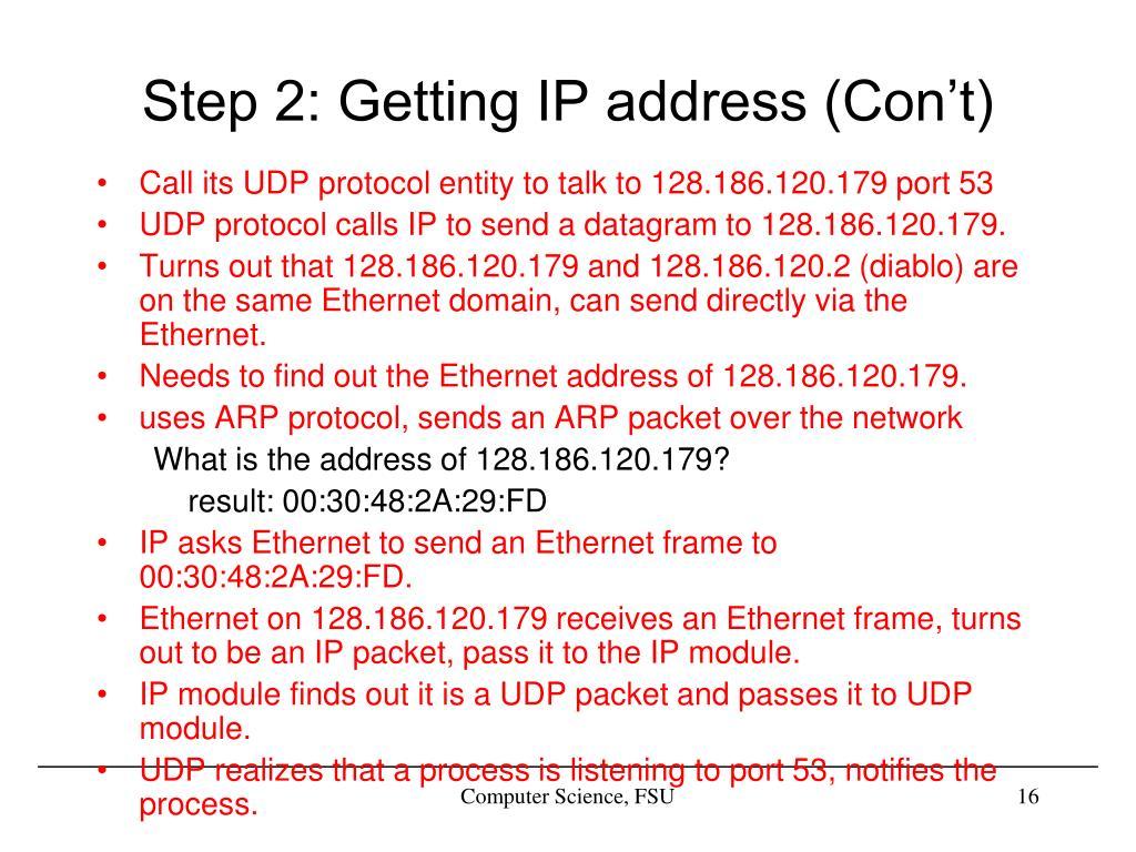 Step 2: Getting IP address (Con't)