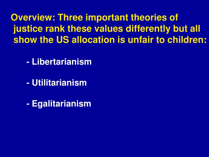 Overview: Three important theories of justice rank these values differently but all show the US allocation is unfair to children: