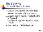 the bid price caldwell s bid for tutwiler