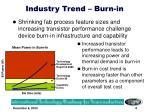 industry trend burn in