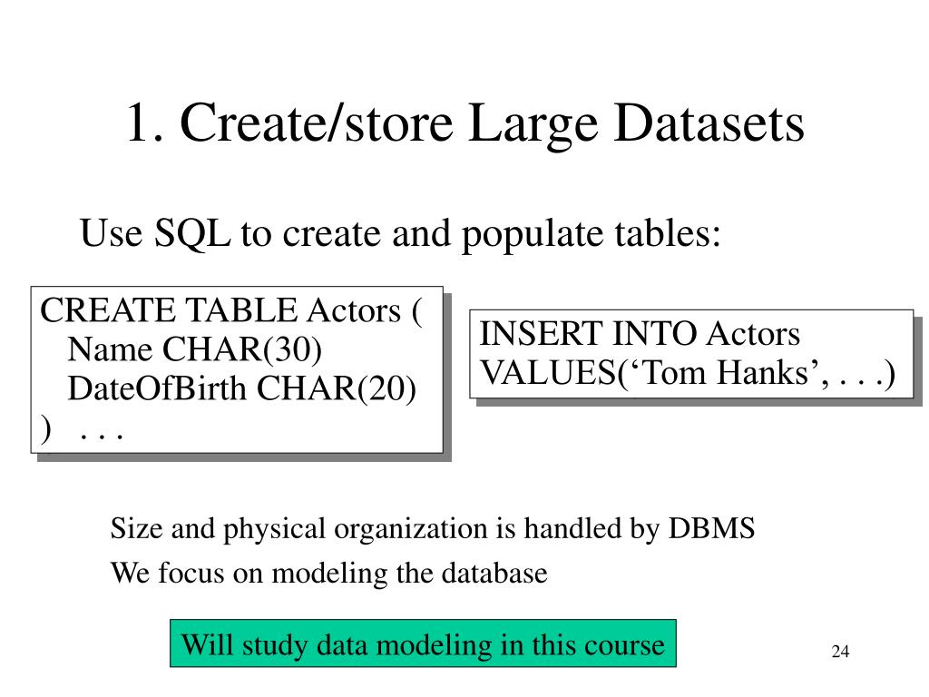 1. Create/store Large Datasets