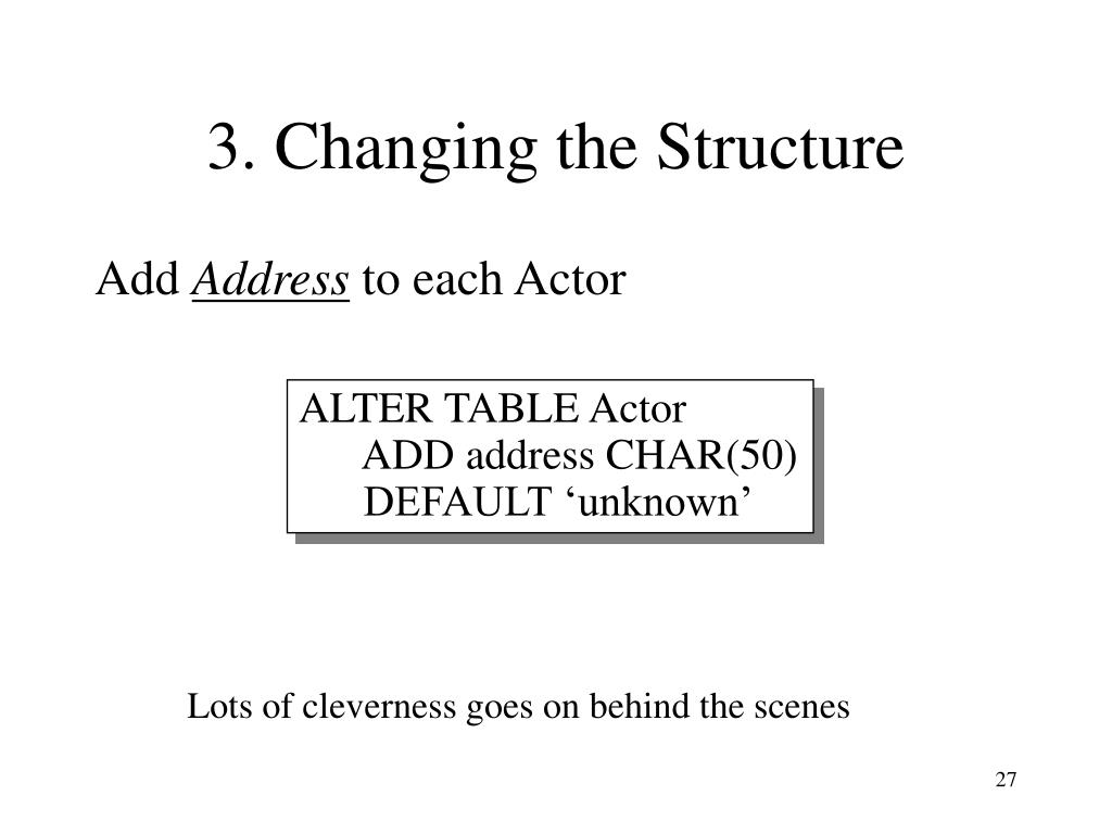 3. Changing the Structure