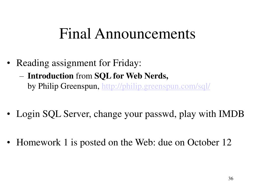 Final Announcements