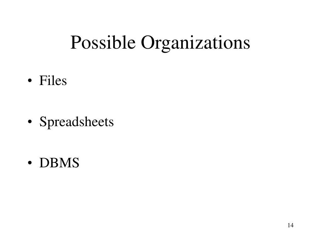 Possible Organizations