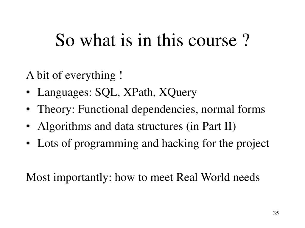 So what is in this course ?