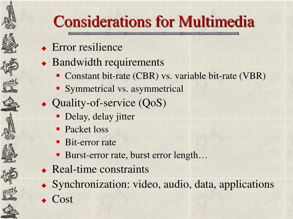 Considerations for Multimedia