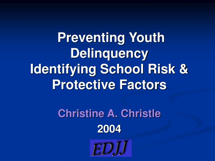 preventing youth delinquency identifying school risk protective factors n.