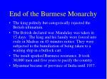 end of the burmese monarchy