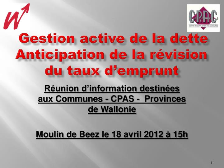 gestion active de la dette anticipation de la r vision du taux d emprunt n.