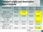 compare origin and destination race ethnicity