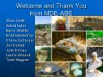 welcome and thank you from mde abe