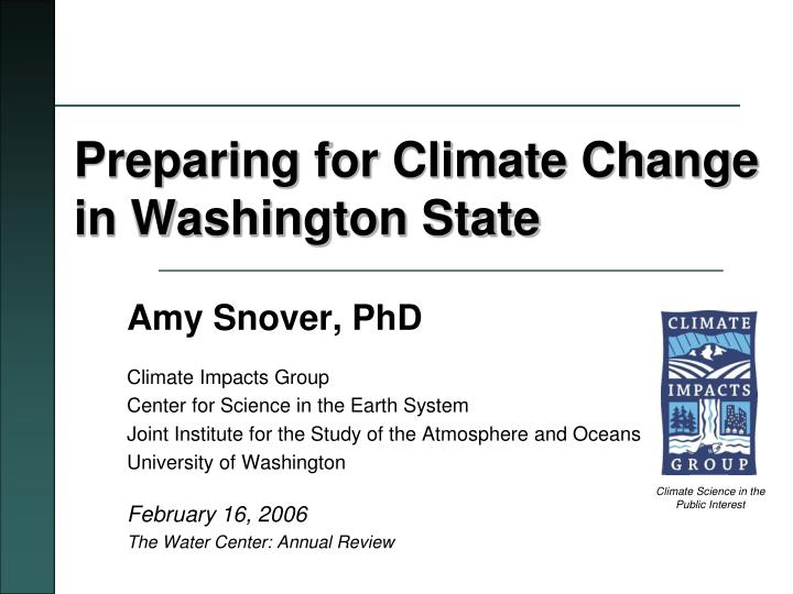 preparing for climate change in washington state n.