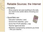 reliable sources the internet