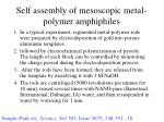 self assembly of mesoscopic metal polymer amphiphiles1