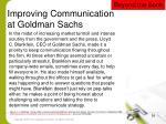 improving communication at goldman sachs