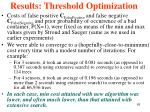 results threshold optimization