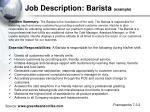 job description barista example