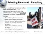 selecting personnel recruiting