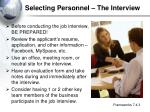 selecting personnel the interview