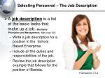 selecting personnel the job description