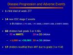 disease progression and adverse events