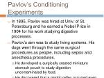pavlov s conditioning experiments