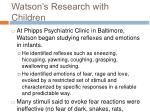 watson s research with children