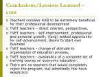 conclusions lessons learned cont