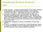 conclusions lessons learned cont1